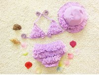 Two-piece Girl Children's Day 4colors Sweet Lace 1-9years old Baby Girl Swimwear +Cap, Toddler Swimsuit Baby Bikini Two Piece Bathing clothes