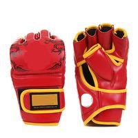 Luvas de Boxe Equipamentos Boxe New Dragon PU Punching Bag Adulto Semi dedo espessamento Tipo de Jogo Muay Thai luvas de combate Preto Azul Vermelho