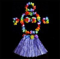 Wholesale Party Luau Tropical cm Hula Skirts Headbands Wristbands Neck Leis Bra Garland