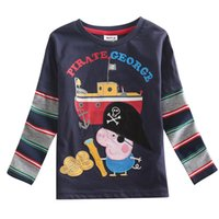 Wholesale Baby Boy T shirt Kids Wear Long Sleeve T shirt Cartoon Tees for Boys Navy T shirt Full Cotton Children Casual Tops A4533