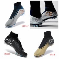 gold spikes - Ronaldo Black Gold Silver Black CR7 Cleat Football Shoes New Soccer Shoes Mercurial Superfly FG ACC Mens Shoes Soccer Cleats Size