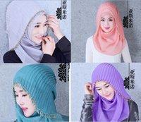 2015 Rosa musulmán Hijab gasa Perla Beads árabe Dubai Mujeres Cabeza Bufandas turbante azul de la lavanda de baile de noche nupcial de la boda velos musulmanes