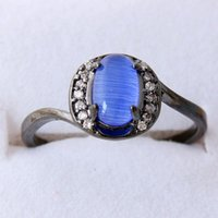 gold filled ring - vogue Jewellery blue opal Lady s18KT Black Gold Filled Ring sz6