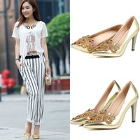 Cheap 2015 New Fashion Style Rhinestone Gold Shoes High Heel Cheap Party Shoes Wedding Shoes Bridal Shoes of Size US 4.5-8.5 X-212