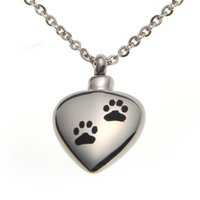bag with hearts - Stainless Steel Pet Dog Cat Paw Waterproof Cremation Urn Necklace Ash Memorial Jewelry with gift bag and chain