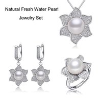 Wholesale Women Natural Pearl Jewelry Set Silver Plated Micro Setting CZ Sunflower Pendant Necklace Earrings Ring Set Wedding Jewelry