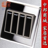 Wholesale Genuine Apple switch socket panel luxury crystal mirror four four billing control switch