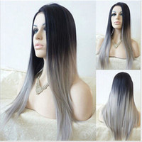 Wholesale Ombre Wig Lady Fashion Synthetic Wigs Women s two tone Black Gray Gradient Straight Hair Heat Resistant Wigs Cosplay Wig for Black Women