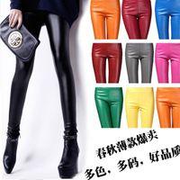 Cheap free shipping !! New Fashion Women's Nine points Leggings Pants Imitation leather mid waist Thin Leg Tights