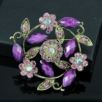 antic jewelry - purple red brooch antic vintage flower rhinestone leaf pins plant cheap jewelry