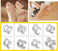 Wholesale Wedding Lovers Foot Toe Tail Rings Plated Silver Band Rings Statement Jewelry For Women Gift Mix Styles Choose Adjustable YBLH