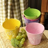 Wholesale Small tin bucket garden home decor with hanging handle practical decorations adorn Specials