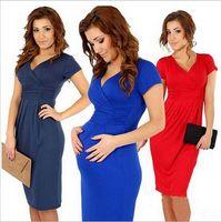 Wholesale Summer Maternity Dress Elegant Gravida Dress V Neck Plus Size Elastic Pregnancy Clothes Knee Length Short Sleeve Pregnant Women LJJE480 pc