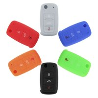 Bon Marché Silicone couvre pour les télécommandes-Silicone voiture Auto Key Cover Case voiture Keychain pour télécommande pour Volkswagen VW Series