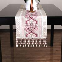 pao de un moderno estilo chino camino de mesa de seda hilada casa manteles de color beige de lujo de mesa bordada corredor