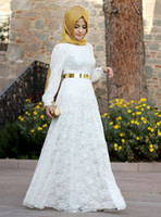 beautiful turkish women - 2016 Modest Muslim Turkish hijab style fashion Lace Evening Dresses Beautiful Arabic women robe Long Sleeve With Sash Party Occasion Dresses