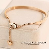 Wholesale Brand Design K Rose Gold Plated Titanium Steel Rhinestone Inlaid Heart shape Style Oval Lady Bangle Bracelet