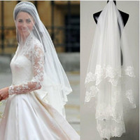 modest style One-Layer Blusher  Veils hot sale high quality Wholesale wedding veils bridal accesories lace one layer 1.5m veil bridal veils WhiteIvory Fast Shipping