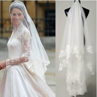 al por mayor venta al por mayor 1.5-venta caliente de alta calidad al por mayor de la boda velos de novia accesorios de encaje de una capa de 1.5 m de velo de novia velos WhiteIvory Envío Rápido