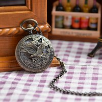 antique vintage prints - Vine Antique Bronze Copper Necklace Pocket Watches Eagle Printed Case White Roman Dial Chain Watch Hot Sales For