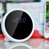 Wholesale Mini Alarm Clock WIFI Camera Degree ultra wide angle Support for Iphone IOS Android Moblie phone digital video cameras