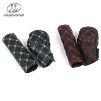 Wholesale Car Artificial leather Handbrake Grips cover gear Shift Collars cover white red line interior decoration products accessory
