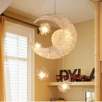 Wholesale Modern Moon Star LED Chandeliers lustres de sala Pendant Lamp For Children Bedroom kids ceiling luminaire Light Fixture order lt no track