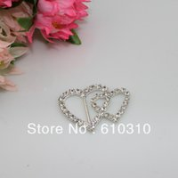 Wholesale x35mm inner bar mm shiny Double Heart rhinestone ribbon buckle weddding buckle for invitations