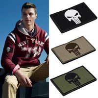 Wholesale Punisher Skulls Rectangle Double Side Embroidery Trim Patch USA Army Morale Armbands Shoulder Badge New Hot Selling