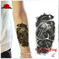 big human skeleton - RoboCop modelling human skeleton Waterproof tattoo Big size Temporary hand painted arm fake tattoo stickers art design for Men