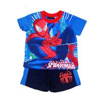 men cotton pajamas set - 2015 New children clothes Spider man Pyjamas boys pyjamas sets baby pajamas spider man sleepwear kids short children pajamas CY2912