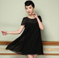 Wholesale Fashion Dresses womens Black short sleeved T shirts temperament yarn splicing bead embroidery dress woman dresses