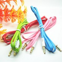 Wholesale 3 mm Flat Audio Cable Noodle Style Colorful Extension Stereo Auxiliary Cables For Cell Phone PC MP3