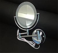 al por mayor marco del espejo de la toma-Nuevo espejo cosmético de bolsillo Espejo compacto en blanco con lámpara Espejo cosmético Espejo cosmético Espejo de maquillaje Espejo de marco metálico