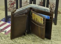 Wholesale RFID crazy horse leather wallet short bifold vintage classic design European and American hot sales design genuine leather