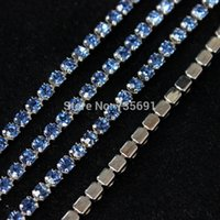 Wholesale Acessorios De Costura mm Lt Sapphire High Quality Rhinestone Cup Chain Ss12 Strass Densify Claw Silver Base yard roll