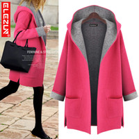 big agent - 2015 winter new European and American big yards fat MM long section of thick hooded cardigan sweater coat agents