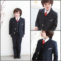 tweed jacket - 2015 Boy s Formal Wear Suits For Boy Notch Lapel Baby Kids Formal Occasion Wedding Party Children Tuxedos Jacket Pants Tie Vest C858