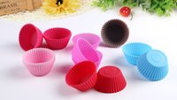 Wholesale The New Sale Round Shape Silicone Muffin Cases Cake pudding mini Chocolate Cupcake Mold cup Cake baking Mould Bakeware Free DHL Ship