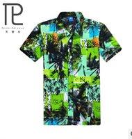 beach polos - New summer style men s t shirts printed beach shirts for men turn down mele T shirts plus size loose t shirt men C2