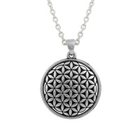 antique necklace religious - Flower of Life Circle Slide Necklace Dangle Antique Silver Plated Religious Charms Vintage Style with Lobster Clasp