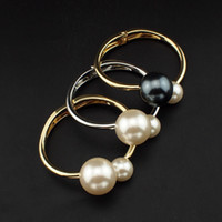 bangle clothing - New Design Romantic Two Pearls Bracelets Accessories Clothes All Match Cuff Bangles For Women Fashion Charm Jewelry B267