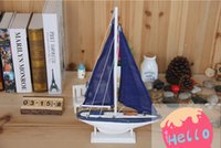 american sailing ships - Fashion American Style Single Sail Boat Nautical Home Decor Novelty Blue Cloth Material Wooden Crafts Gift for Kid