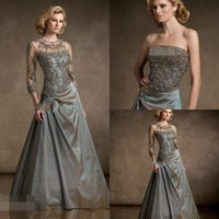 Cheap BM Elegant Mother Formal Evening Dress For Women Wedding Floor-length Taffeta Applique Beading Sexy Mother of Bridal Dresses With Jacket