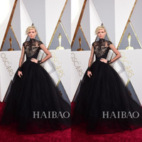 Wholesale 2016 th Oscar Black Lace Dorith Mous Celebrity Evening Dresses High Neck Long Sleeves Sweep Train Special Occasion Ball Gowns Prom Pageant