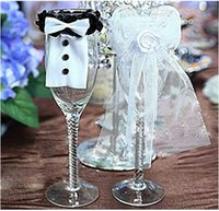Wholesale 2015 Wedding Decoration New Year Christmas Wedding Party Decoration A Couple of Bridegroom Bride Type Wineglass Cover JIA460