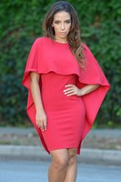 angle sleeve - New Fashion Designer Women O Neck Poncho Cape Cloak Dress Angle Batwing Sleeve Bodycon Backless Mini Party Dress Red Black White