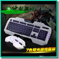 Wholesale Backlight game keyboard backlit keyboard key without mechanical shooting and a dpi colors backlight mouse fit for cf lol post free