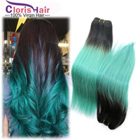 hair dye color - A Ombre Hair Extensions Xcsunny B Green Colored Two Tone Ombre Weave Silky Straight Brazilian Virgin Human Hair Bundles