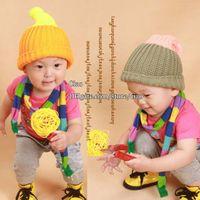 Wholesale Caps Hats Kids Winter Cap Children Caps Korean Hand Knitted Caps Skull Cap Knitted Beanie Hat Boys Girls Wool Cap Baby Crochet Hats Kids Cap